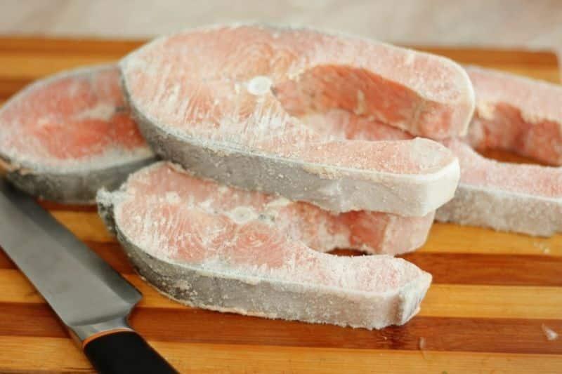 frozen salmon slice