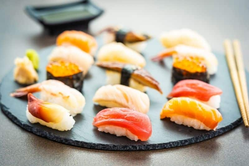 salmon tuna shrimp nigiri